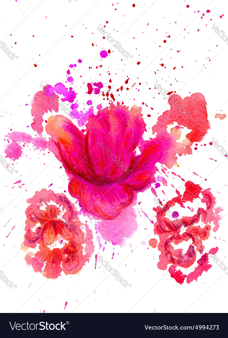 Watercolor flower2 vector