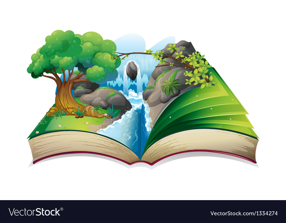 A book with an image of a forest vector
