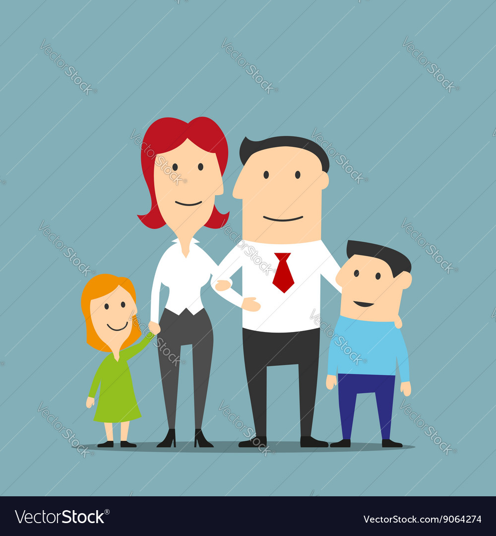 Family business couple with kids vector
