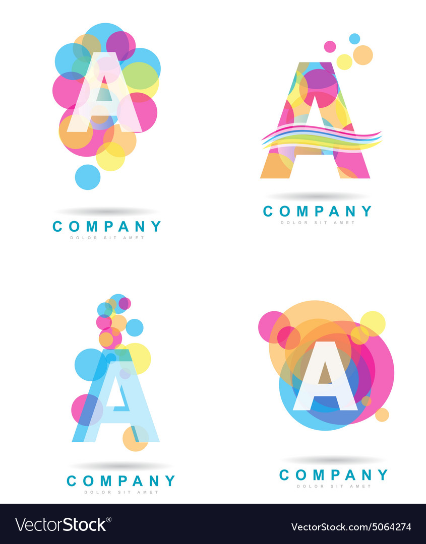 Letter a colored logo set vector