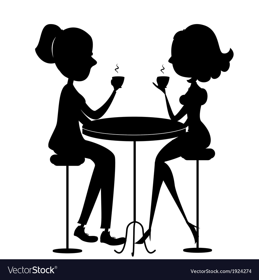Two lovers women drinking coffee black silhouette vector