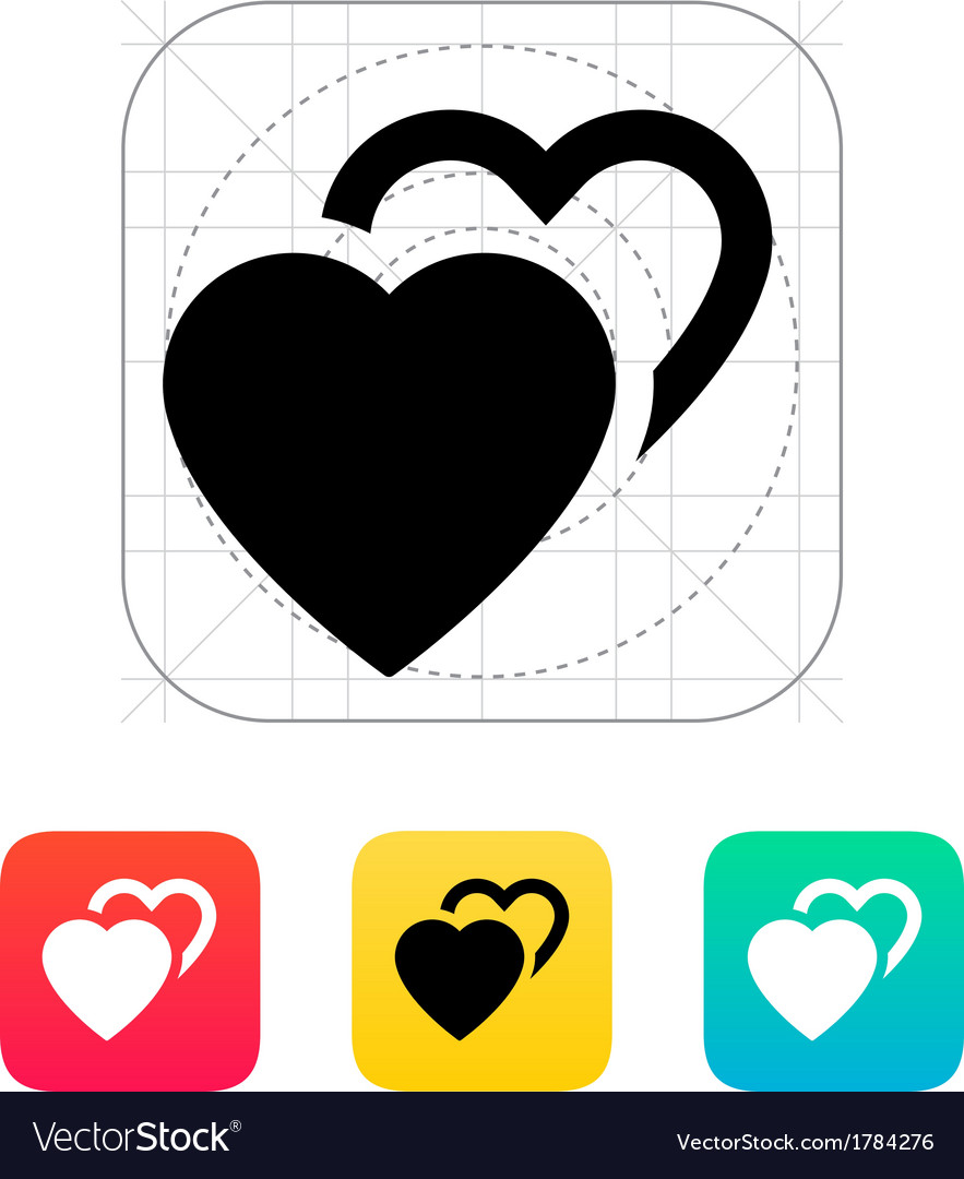 Two hearts icon vector