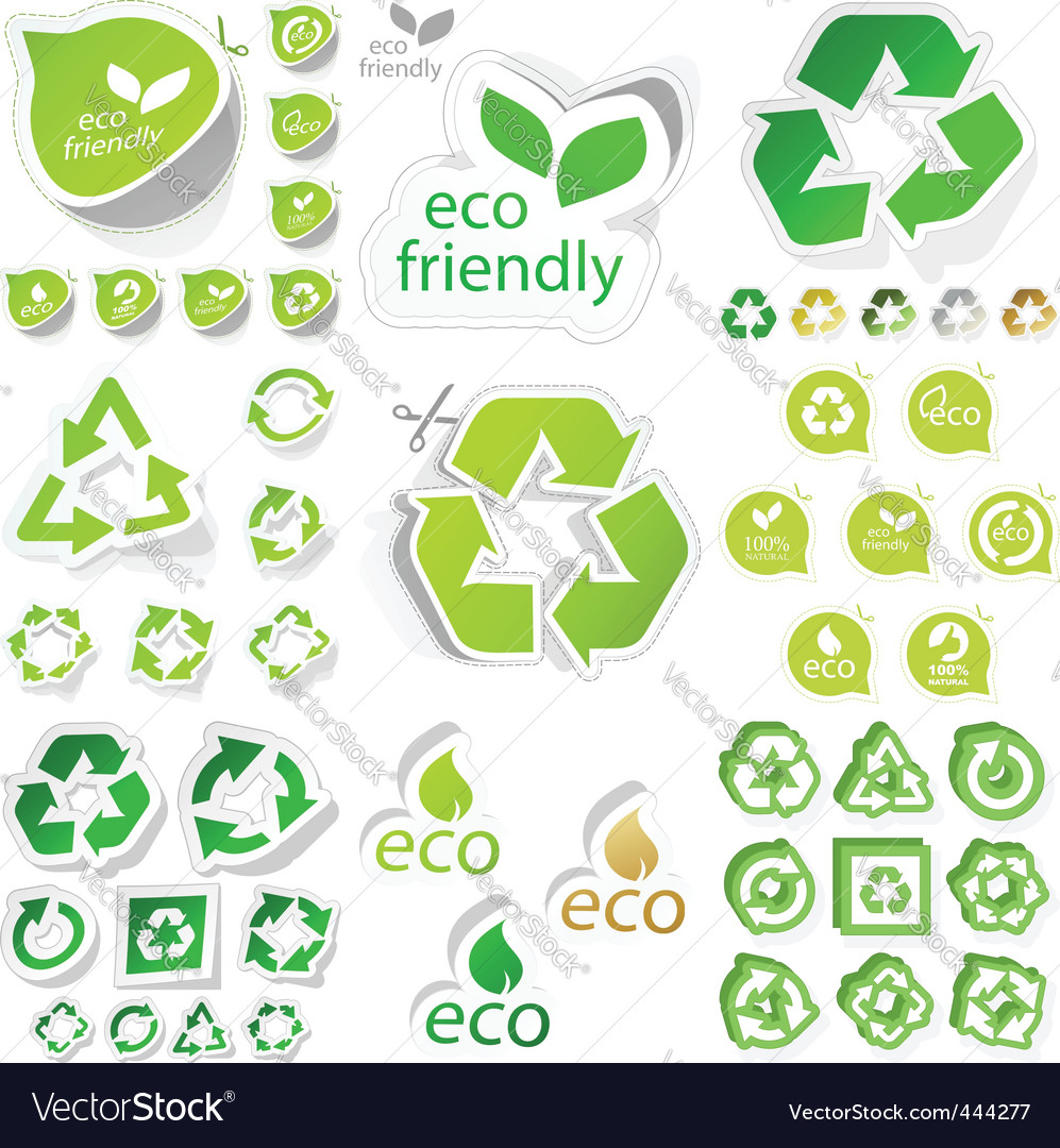 Eco sticker set vector
