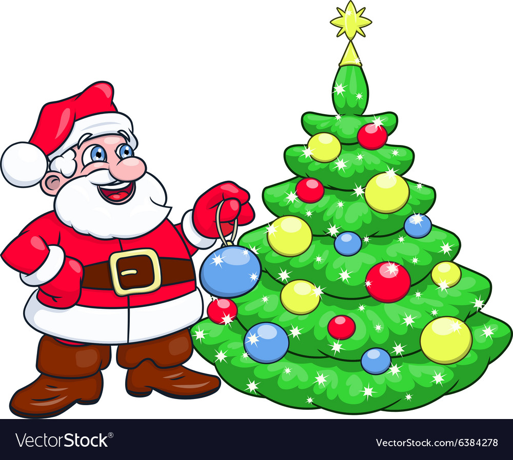Santa decorating christmas tree 2 vector