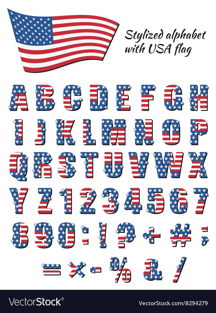 Font with an american flag vector