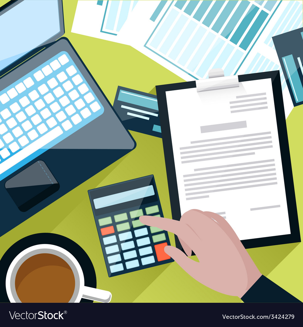 Office desk with counting on calculator vector