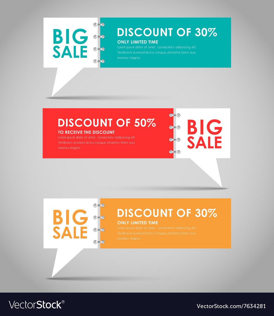 Banners with quote bubble for big sale vector