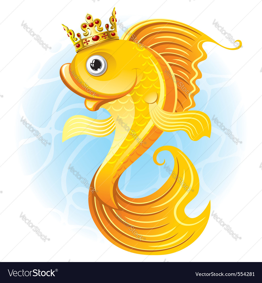 Magic goldfish with a crown vector