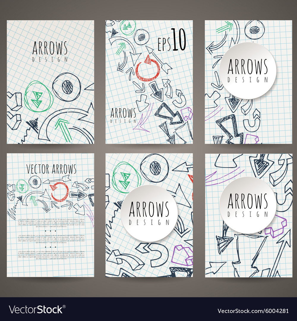 Set of six designs of handdrawn arrow vector