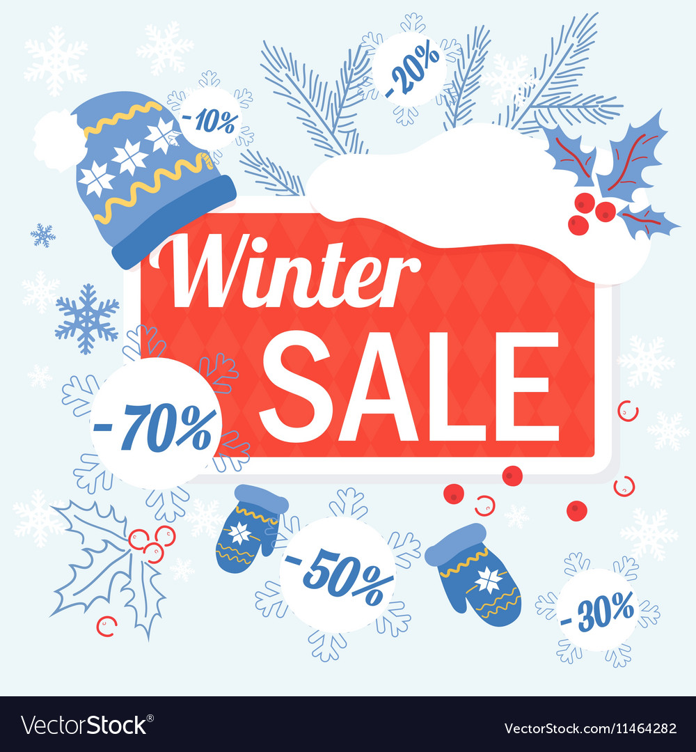 Big winter christmas sale design template with hat vector