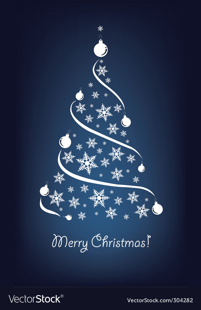 Christmas tree blue vector