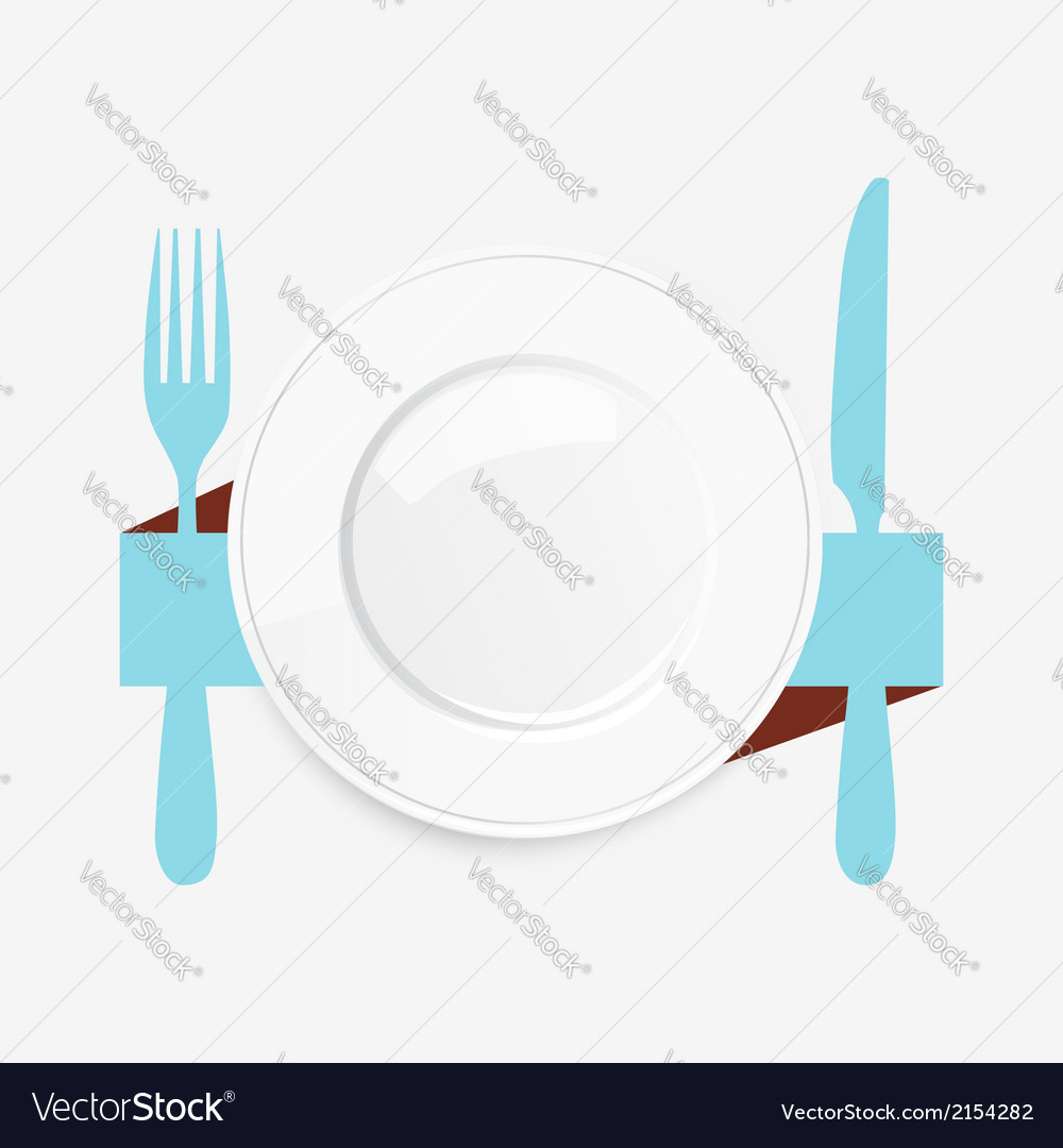 Empty white plate with a blue knife and fork vector