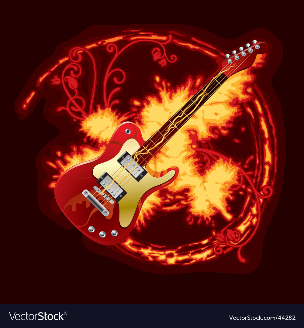 Fire electric guitar vector