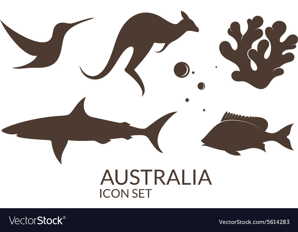 Australia icon set vector