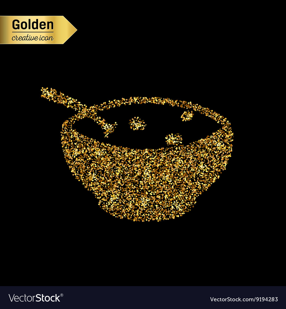 Gold glitter icon of soup isolated on vector