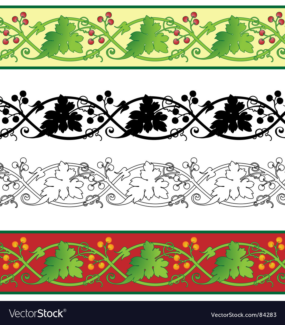 Grape leaf border vector