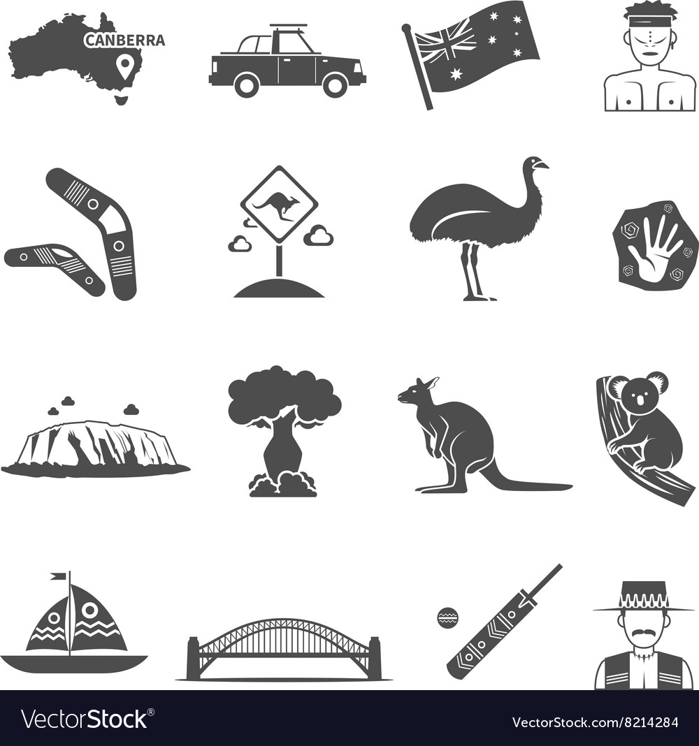 Australia black white icons set vector