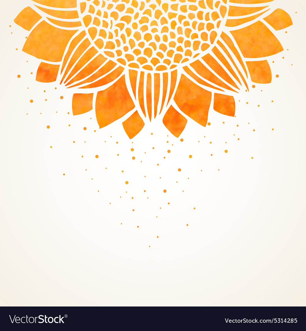 With watercolor sunflower vector
