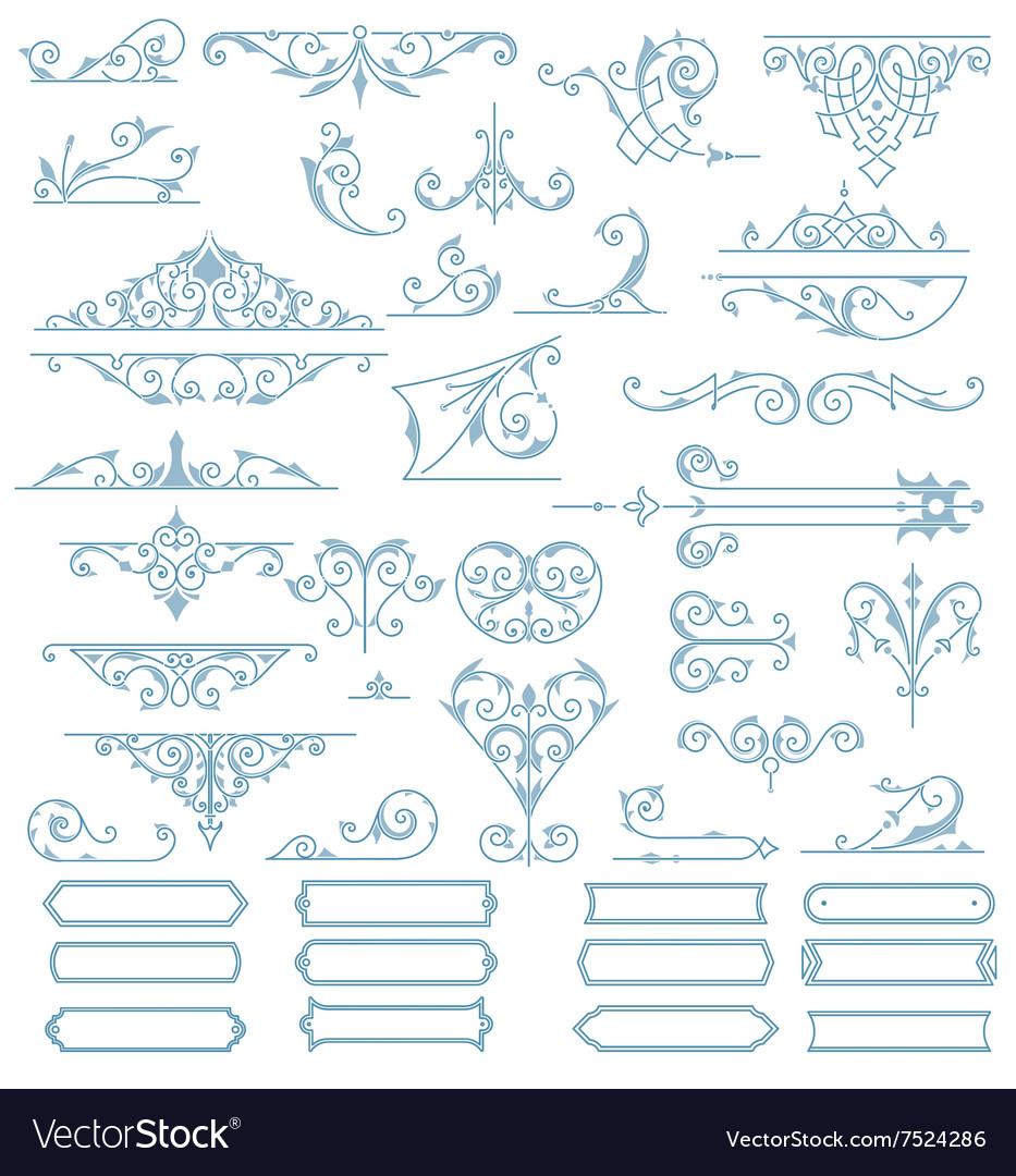 Baroque ornaments design set vector