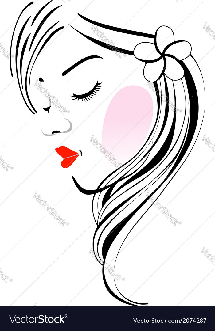 Beautiful lady with flower on hair vector