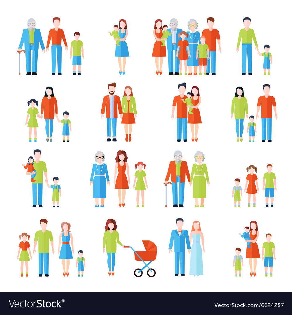 Family flat icons set vector