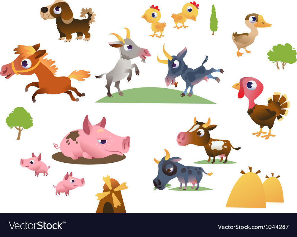 Set of cartoon farm animals vector