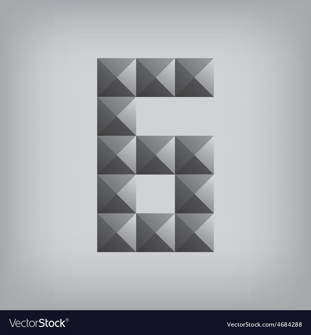 6 number six alphabet geometric icon and sign vector