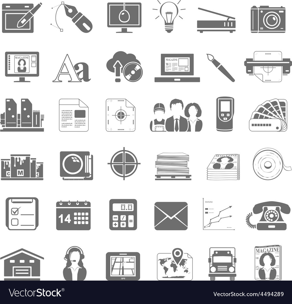 Black icons offset printing vector