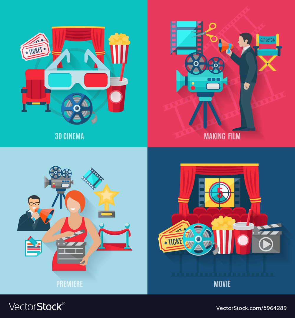Movie making icons set vector