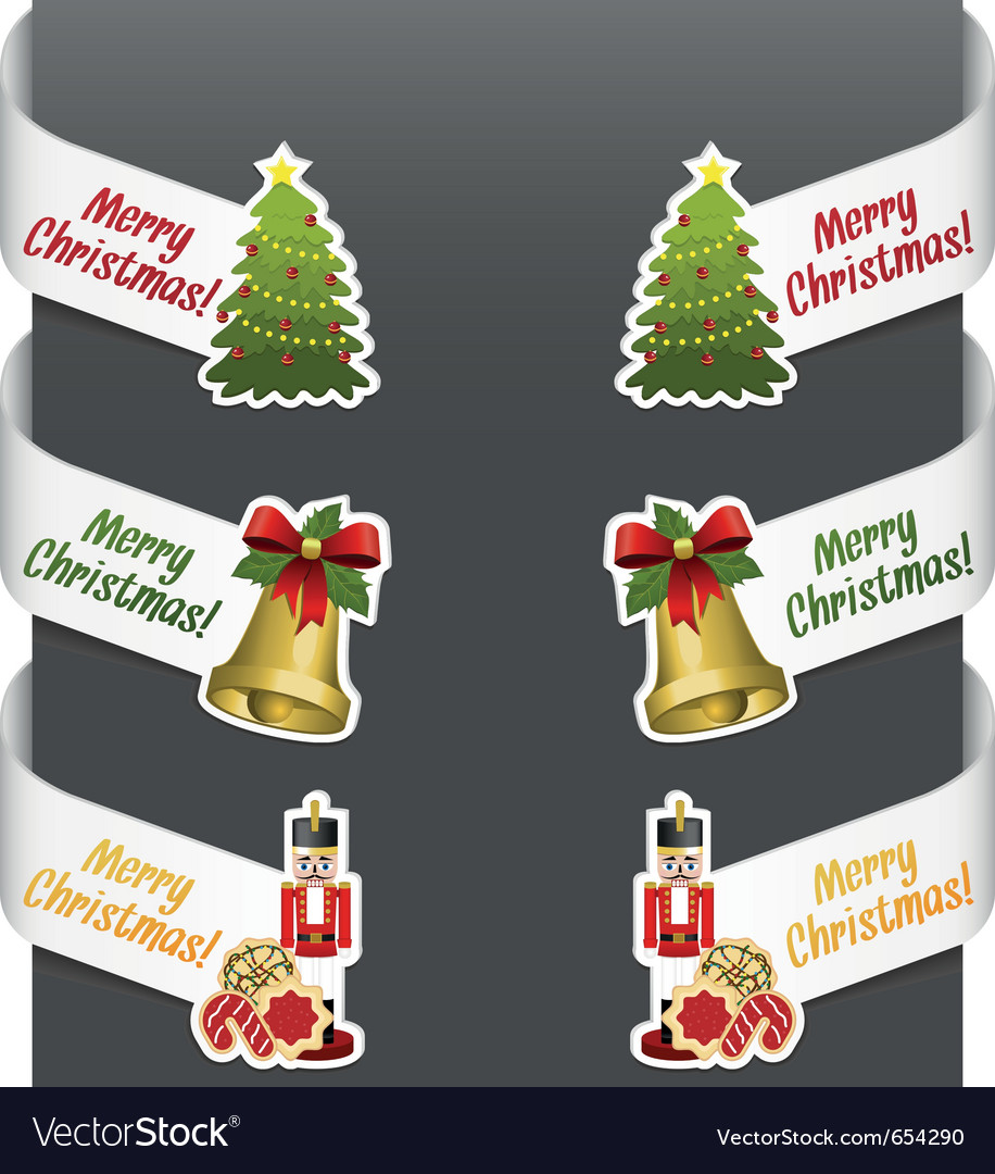 Left and right side signs  merry christmas vector