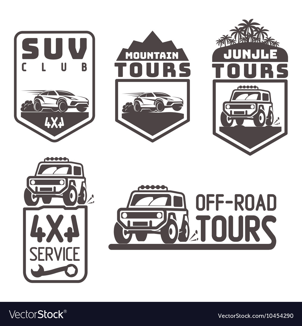 Suv 4x4 offroad travel tour club icon logo vector