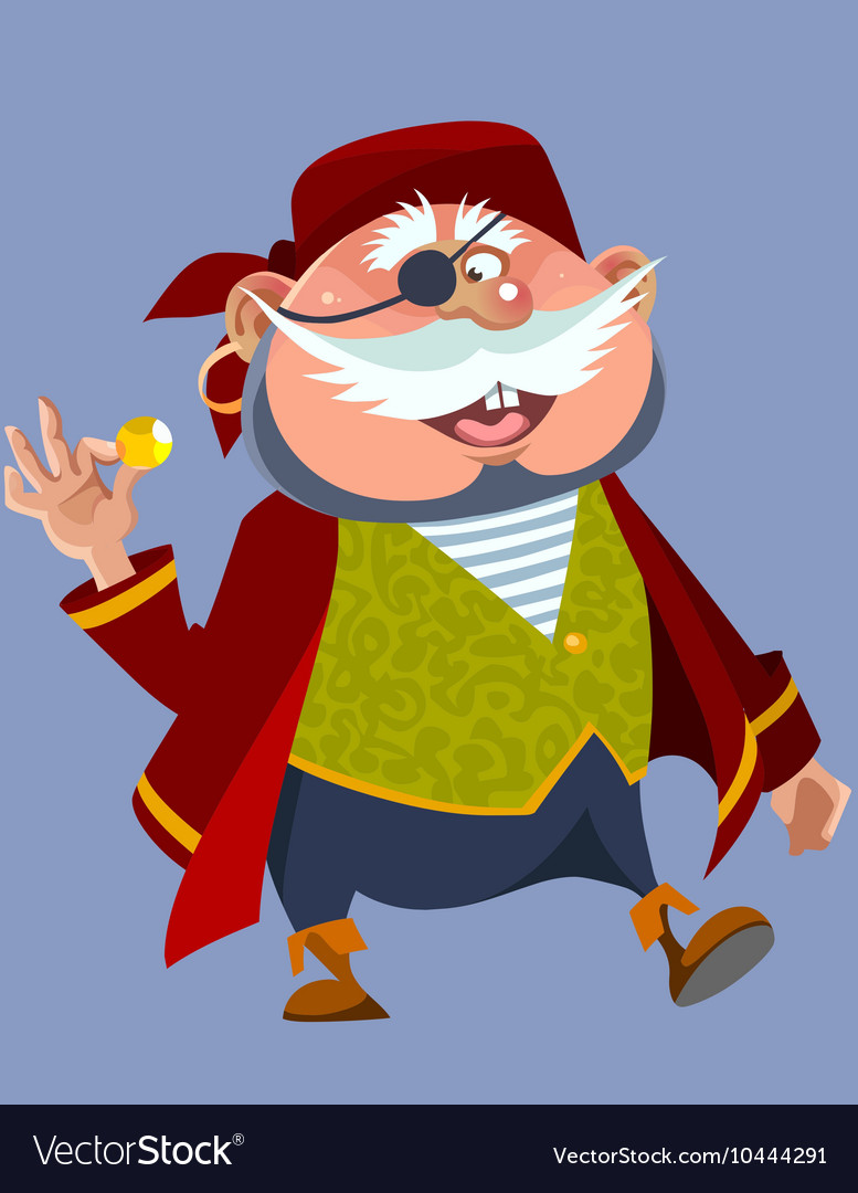 Cartoon cheerful chubby man in a pirate costume vector