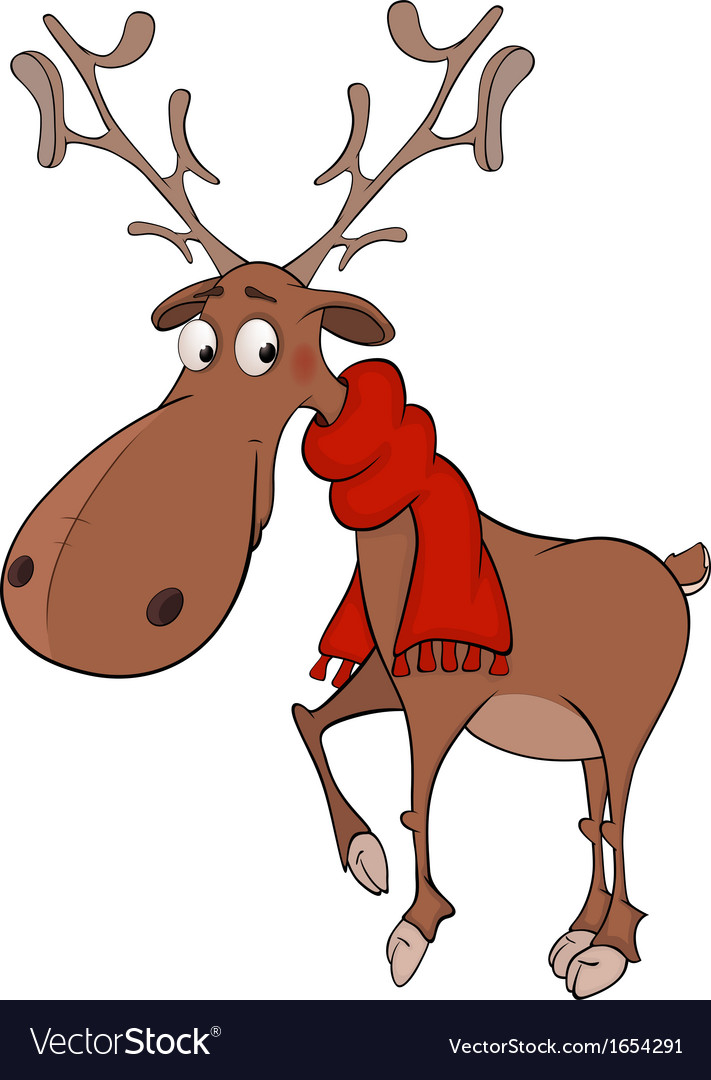Christmas deer cartoon vector