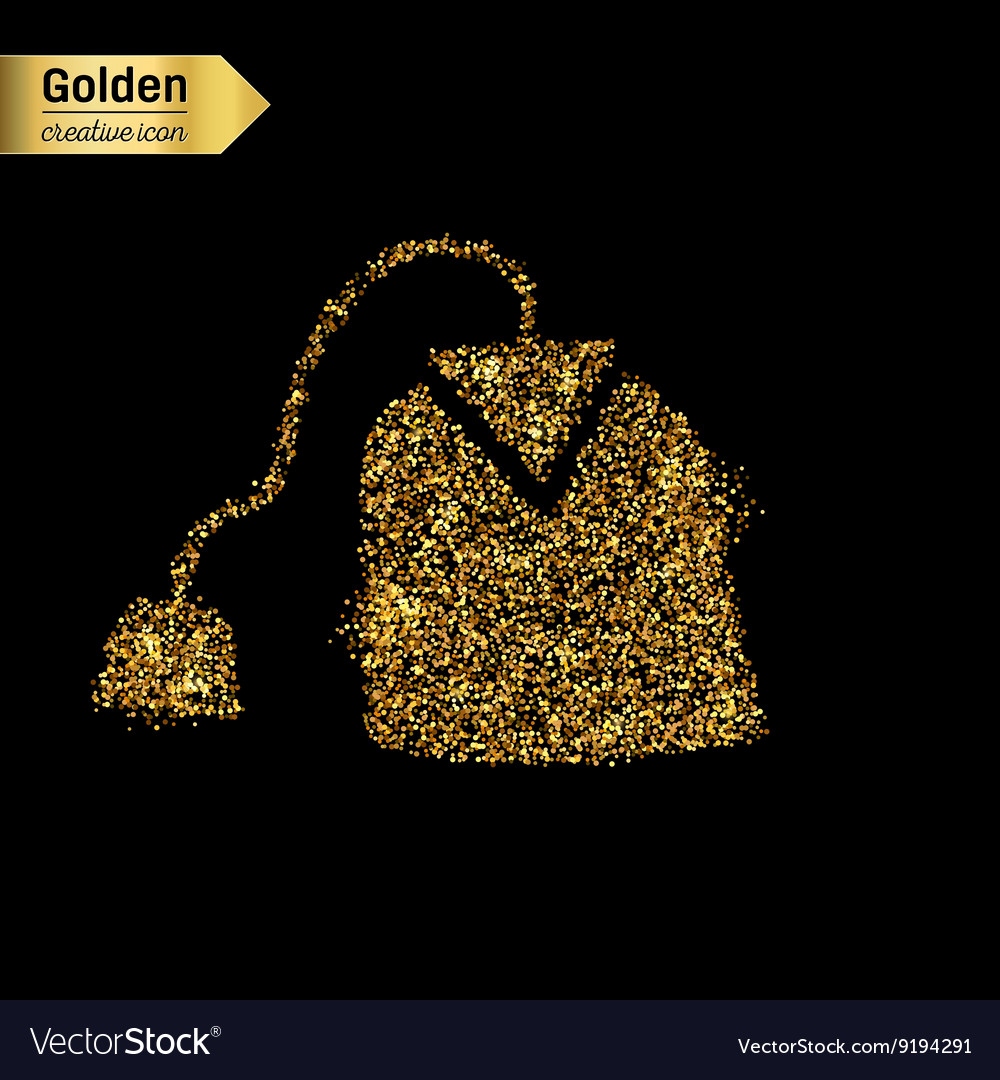 Gold glitter icon of tea bag isolated on vector