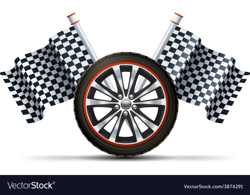 Racing wheel with flags vector