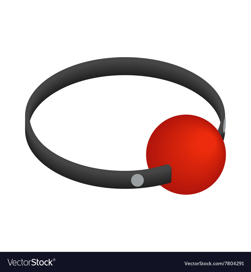 Red ball gag with a belticon isometric 3d style vector