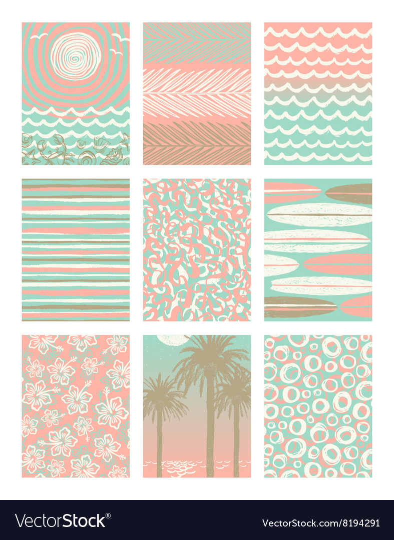 Set of summer vacation poster backgrounds vector