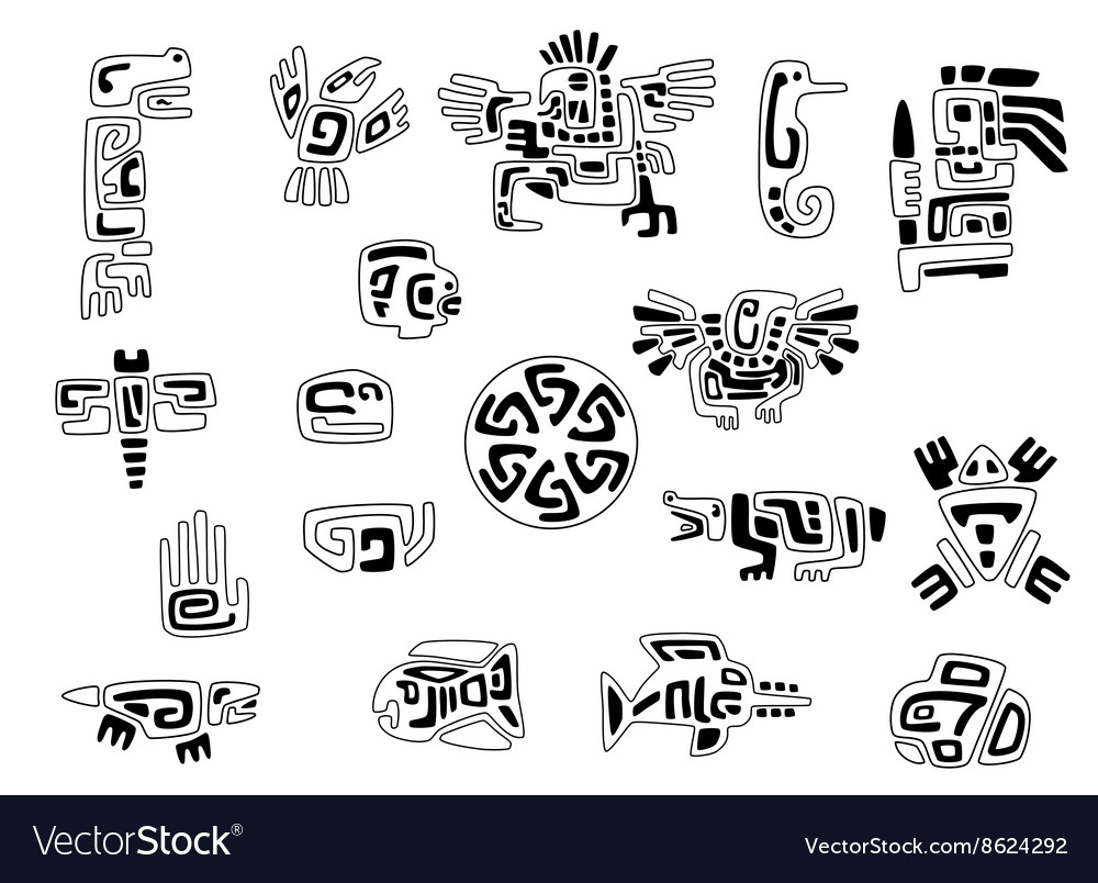 Set of stylized native american symbols vector