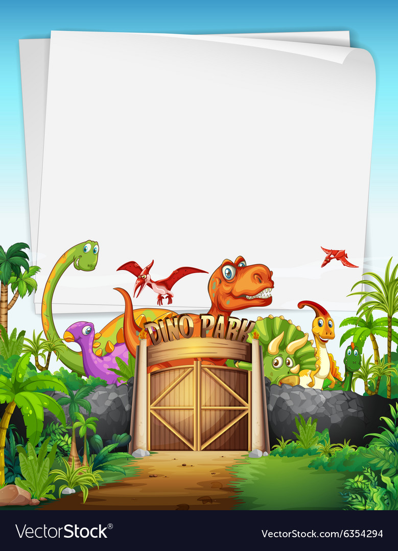Border design with dinosaur at the park vector