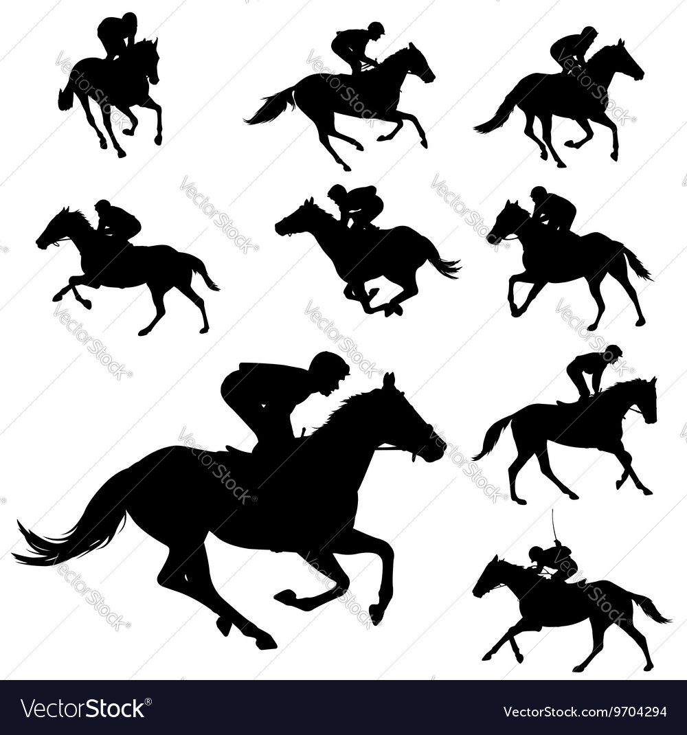 Jockeys silhouettes collection vector