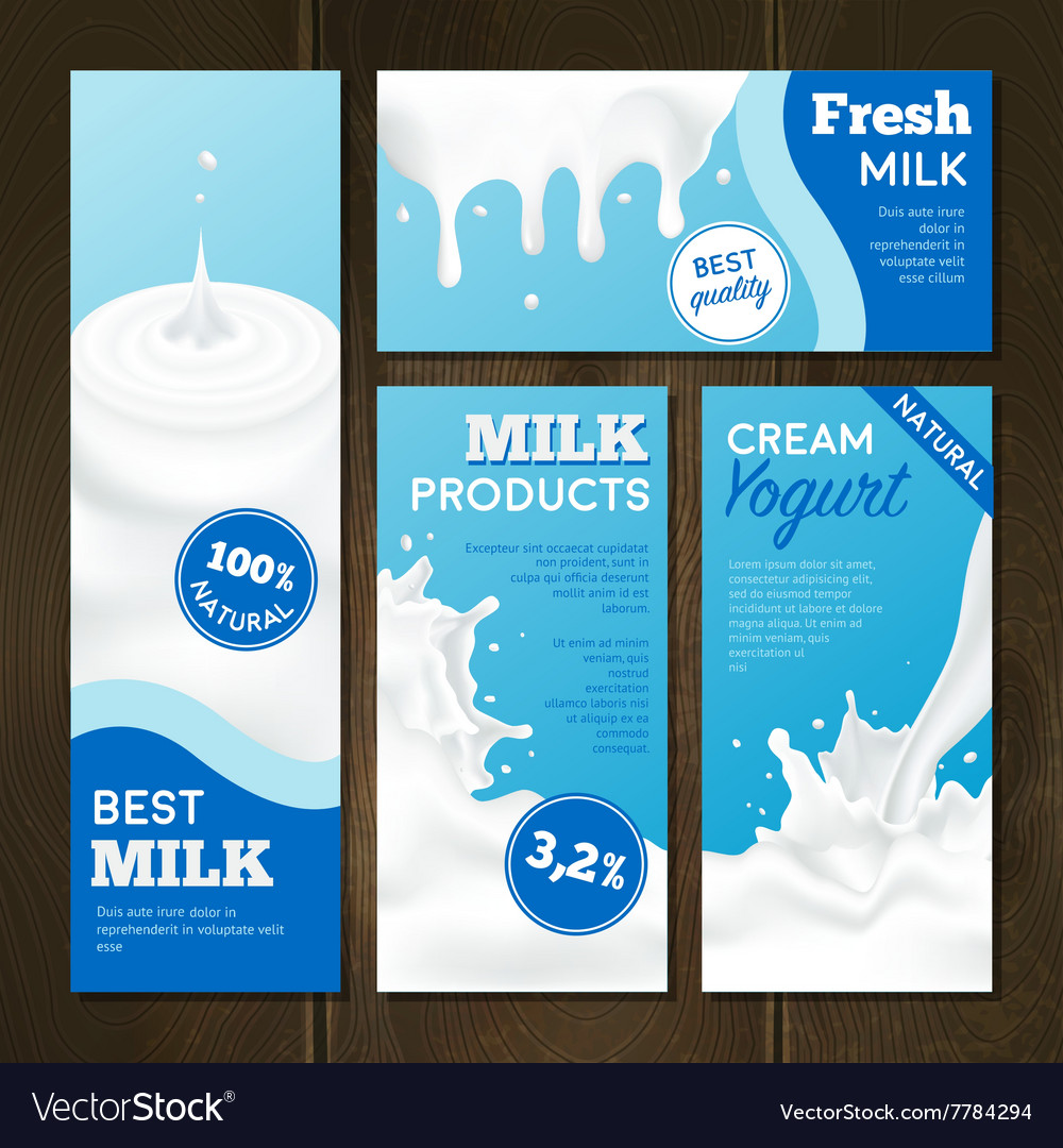 Milk products banners set vector