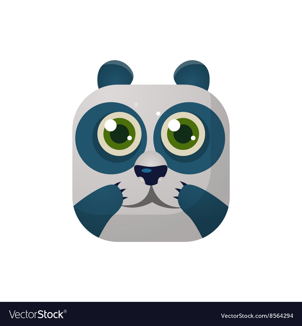 Panda square icon vector