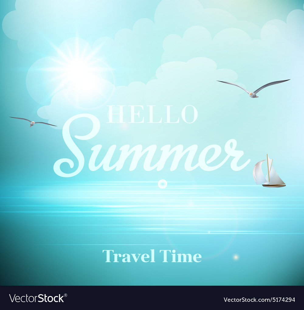 Summer sunny day with views of the sea with vector