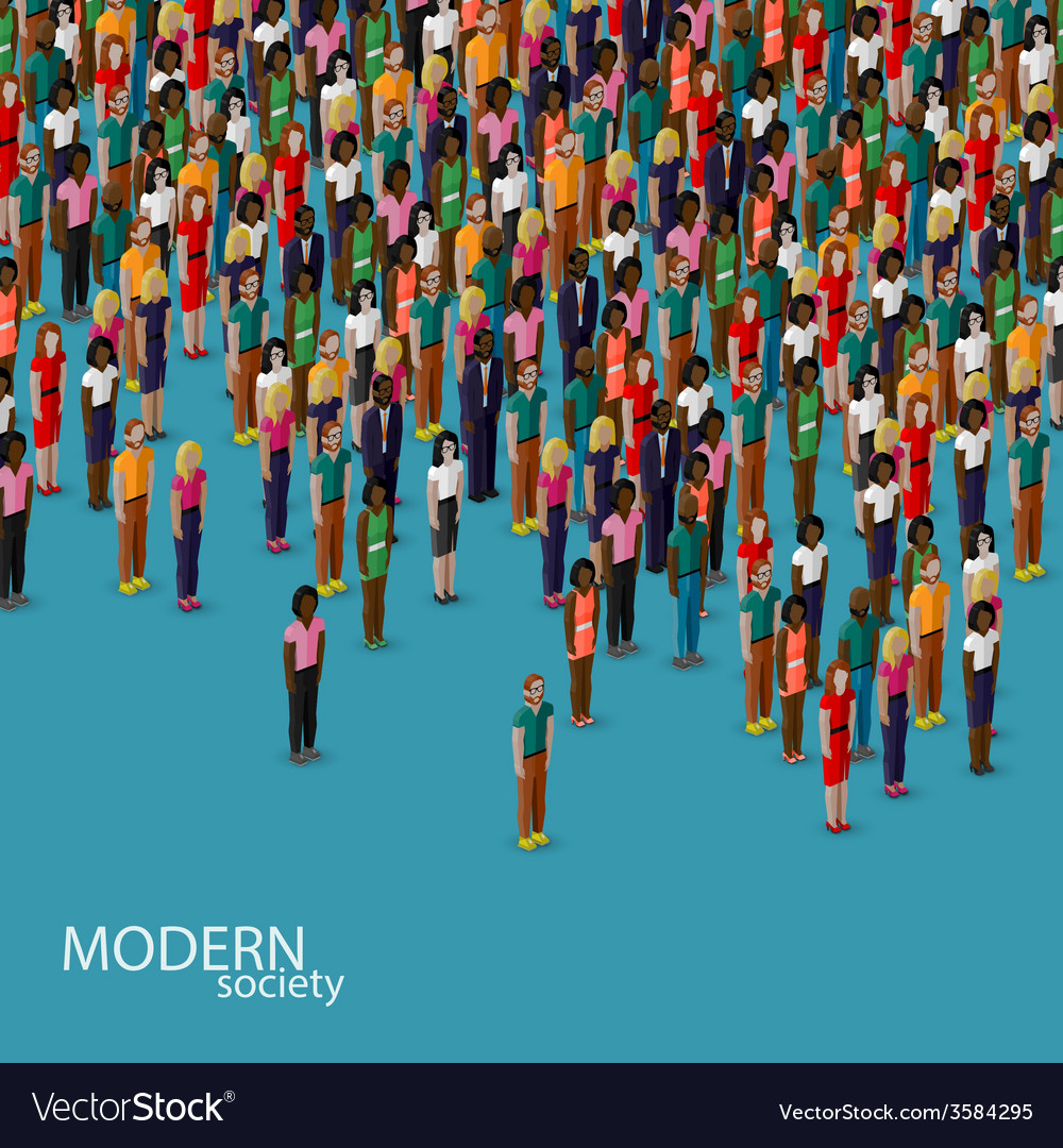 3d isometric of society members with a crowd of vector