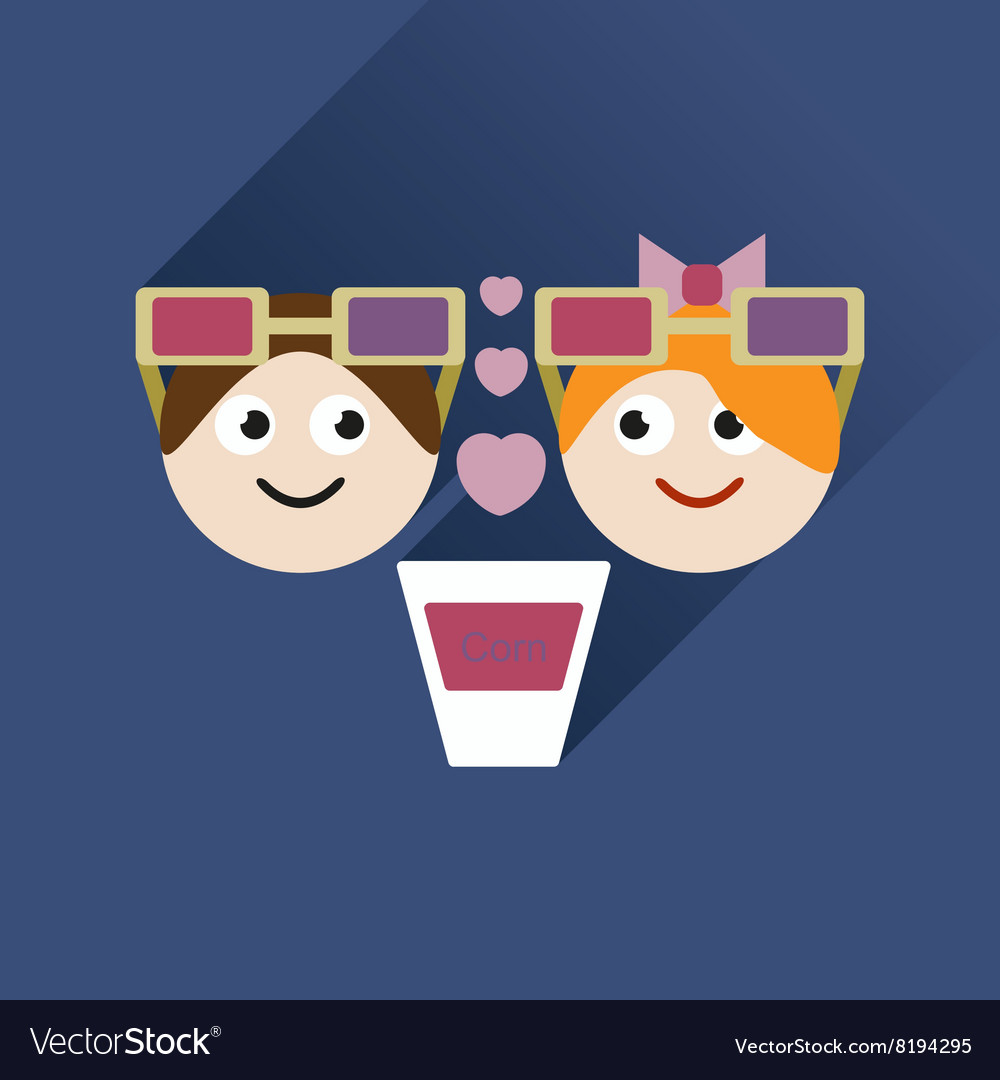 Flat web icon with long shadow couple at cinema vector