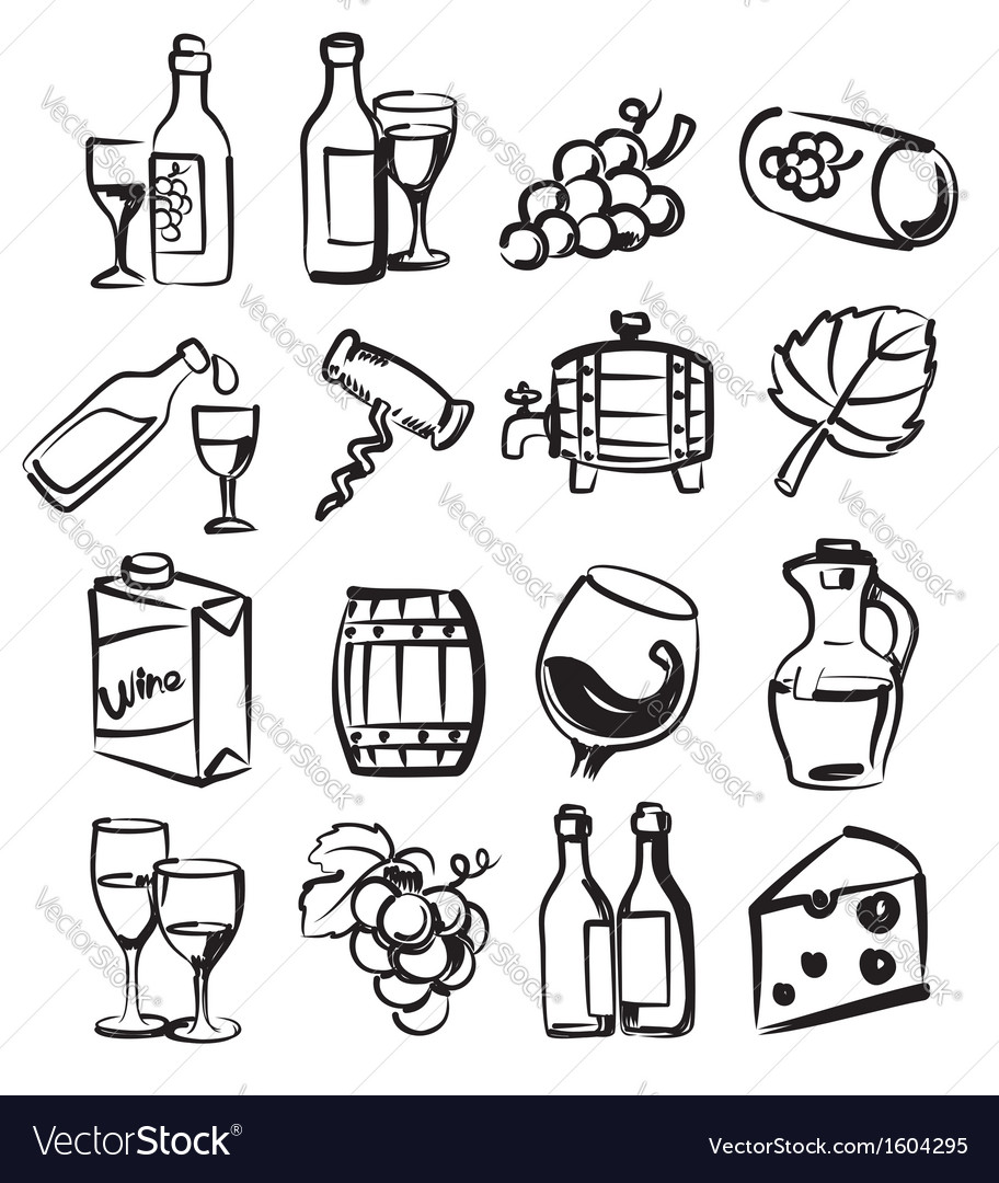 Hand draw wine vector