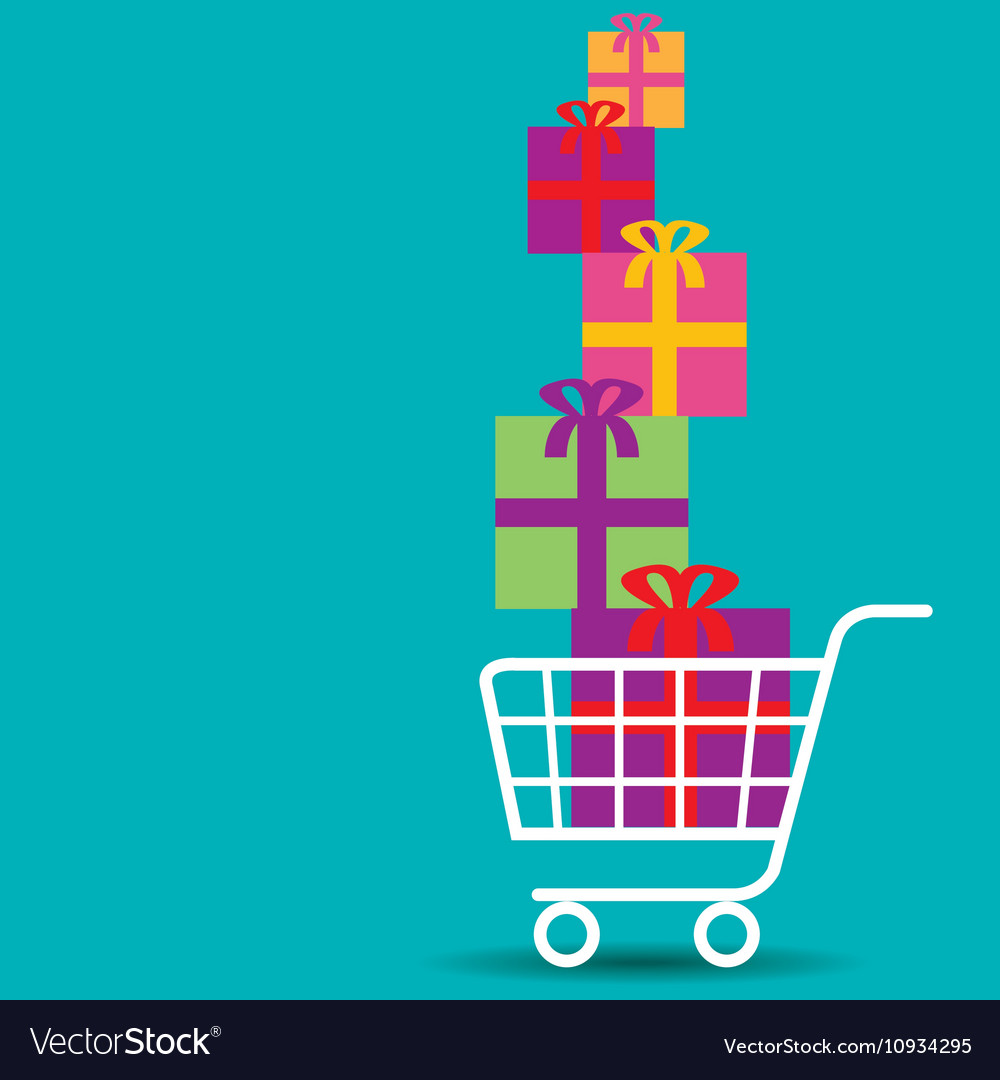 Shopping cart overflowing with colorful gifts vector