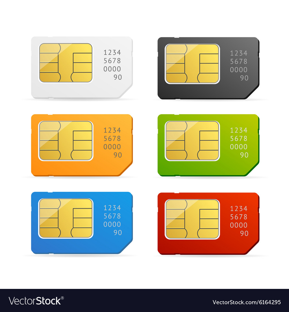 Sim card colorful set vector