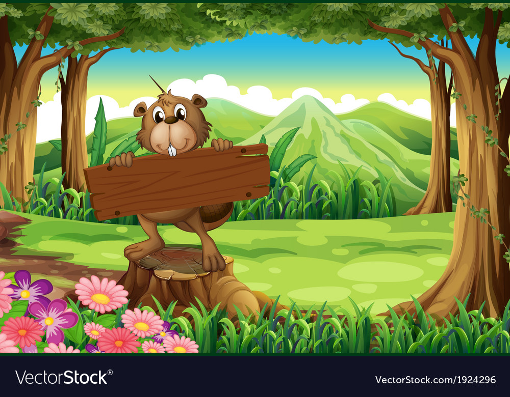 A beaver holding an empty signboard at the forest vector