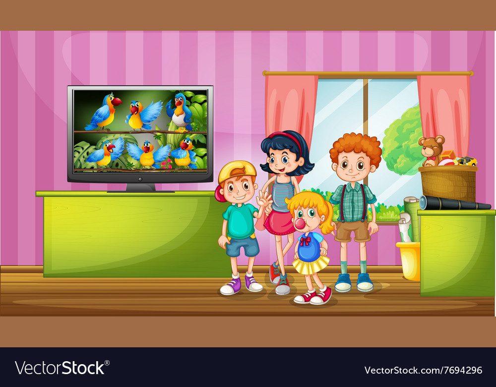 Children watching tv in the room vector